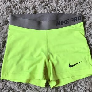 Nike Pro Spandex, neon yellow, size small